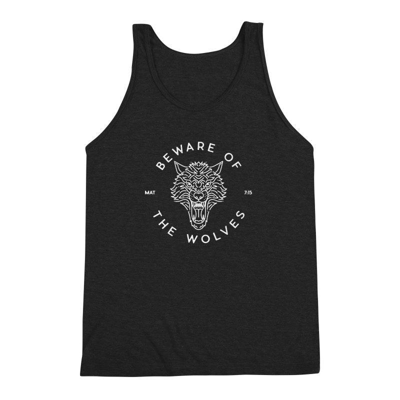 Beware of the Wolves (white) Men's Triblend Tank by Reformed Christian Goods & Clothing