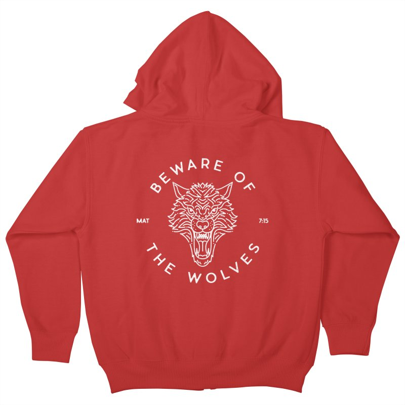 Beware of the Wolves (white) Kids Zip-Up Hoody by Reformed Christian Goods & Clothing