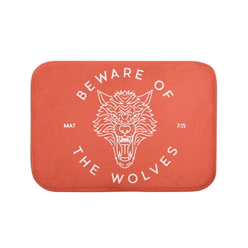 Beware of the Wolves (white) Home Bath Mat by Reformed Christian Goods & Clothing