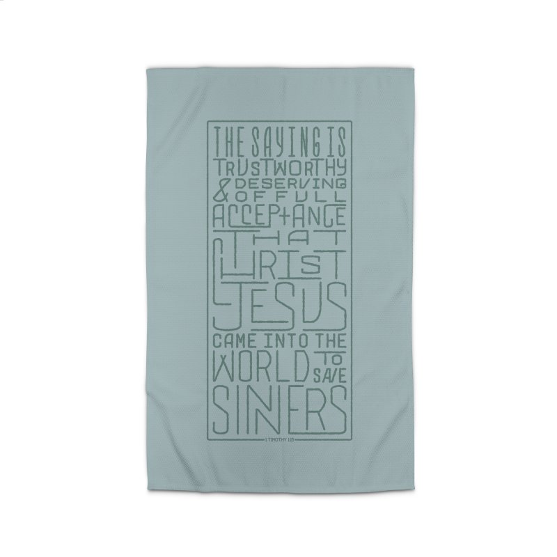 Christ Jesus Came Into the World to Save Sinners | 1 Timothy 1:15 (green) Home Rug by Reformed Christian Goods & Clothing