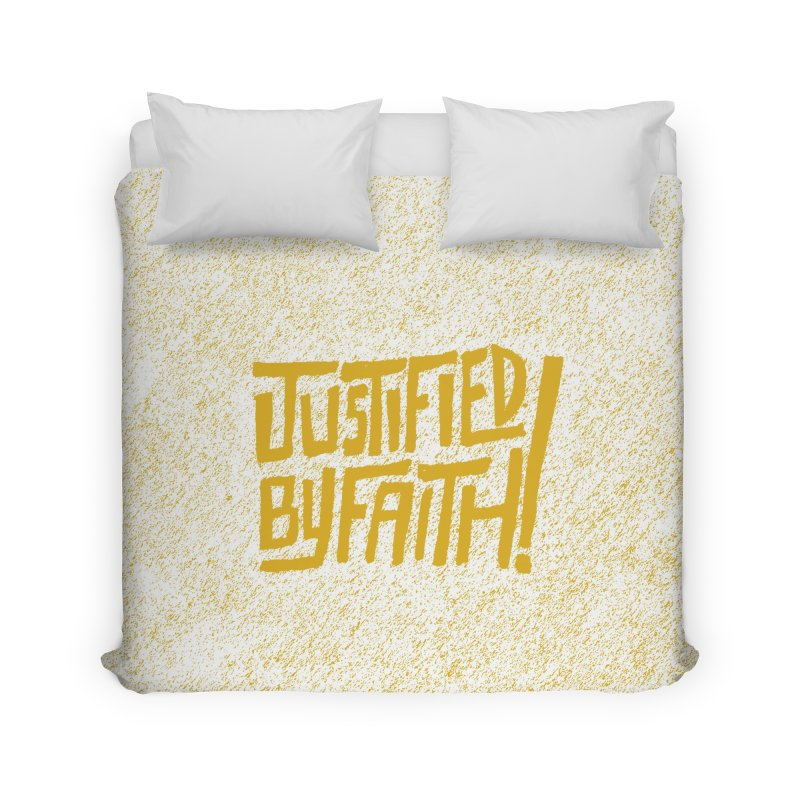 Justified by Faith! (gold) Home Duvet by Reformed Christian Goods & Clothing