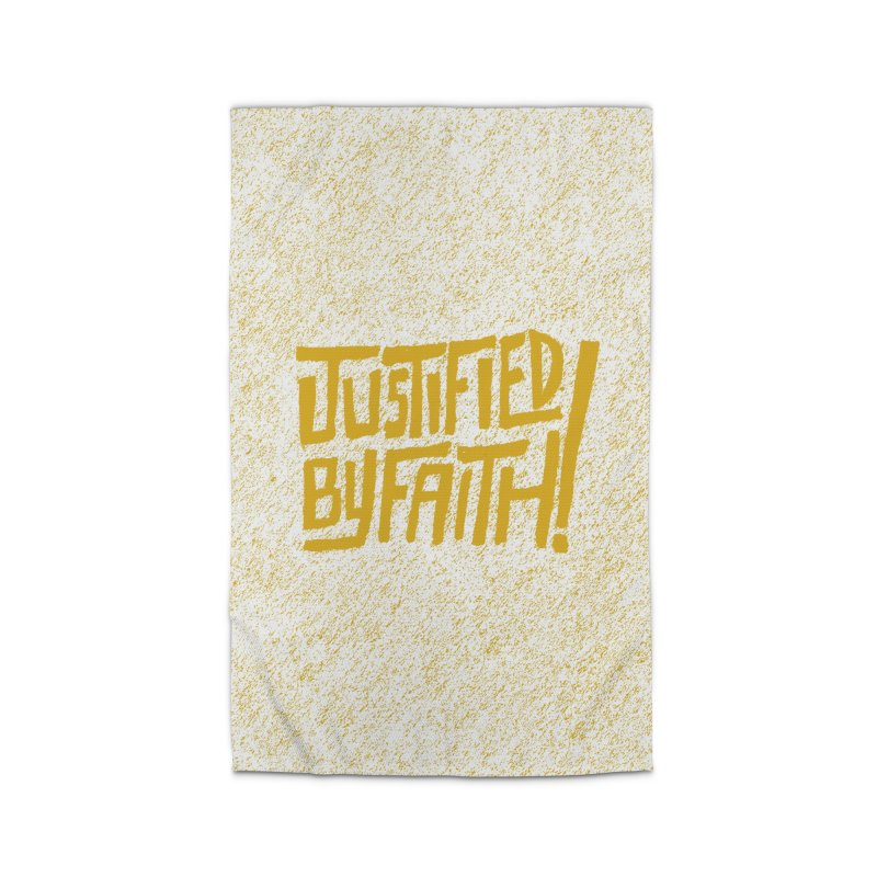 Justified by Faith! (gold) Home Rug by Reformed Christian Goods & Clothing