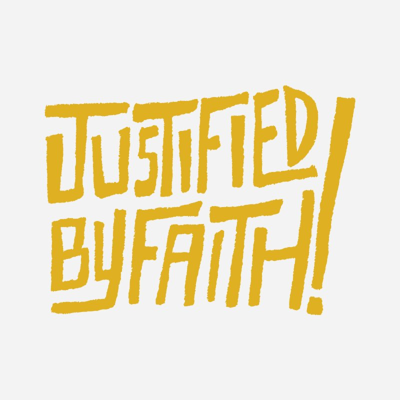 Justified by Faith! (gold) Women's V-Neck by A Worthy Manner Goods & Clothing