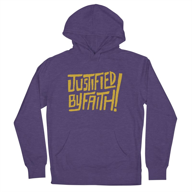 Justified by Faith! (gold) in Men's French Terry Pullover Hoody Heather Purple by Reformed Christian Goods & Clothing