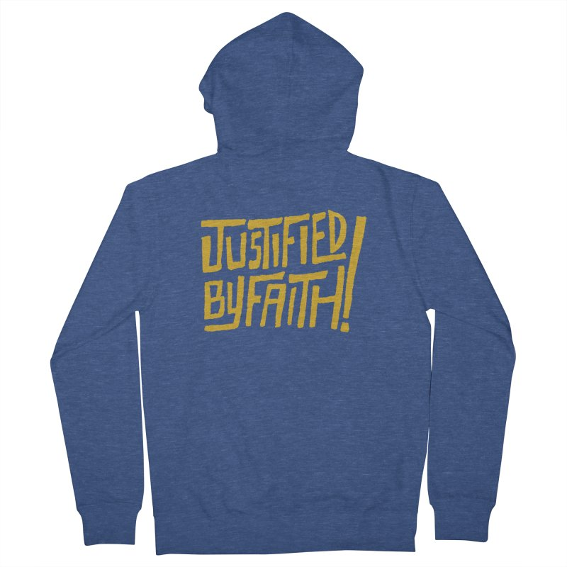 Justified by Faith! (gold) Women's French Terry Zip-Up Hoody by Reformed Christian Goods & Clothing