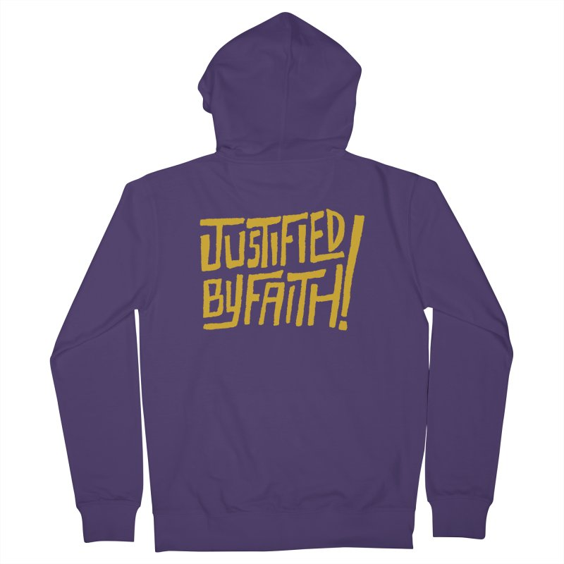 Justified by Faith! (gold) Women's French Terry Zip-Up Hoody by A Worthy Manner Goods & Clothing