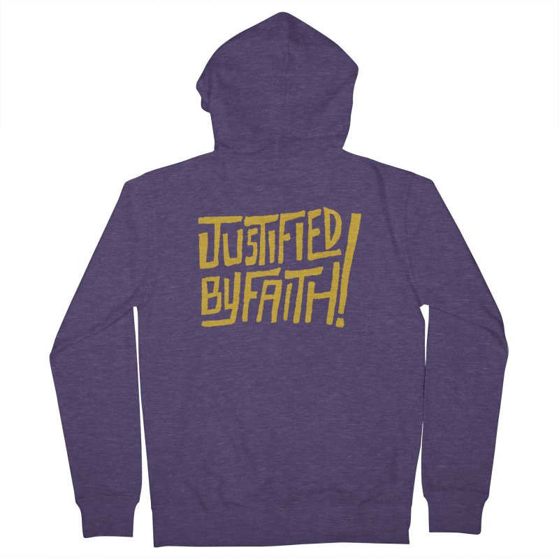 Justified by Faith! (gold) Men's French Terry Zip-Up Hoody by Reformed Christian Goods & Clothing