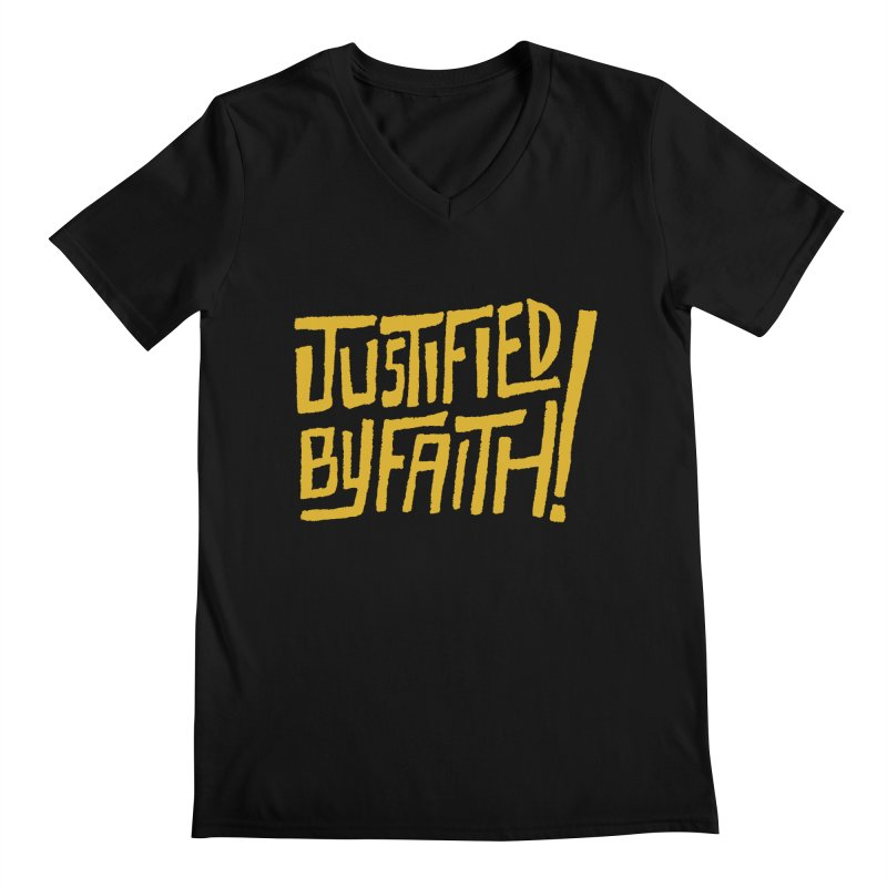 Justified by Faith! (gold) Men's V-Neck by Reformed Christian Goods & Clothing