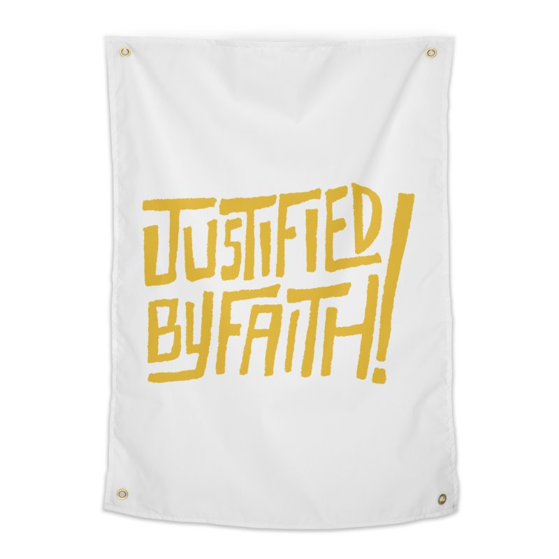 Justified by Faith! (gold) Home Tapestry by Reformed Christian Goods & Clothing