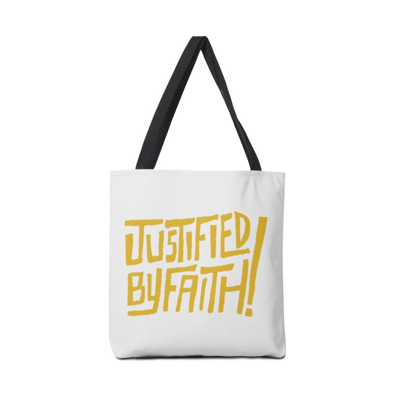 Justified by Faith! (gold) Accessories Tote Bag Bag by Reformed Christian Goods & Clothing