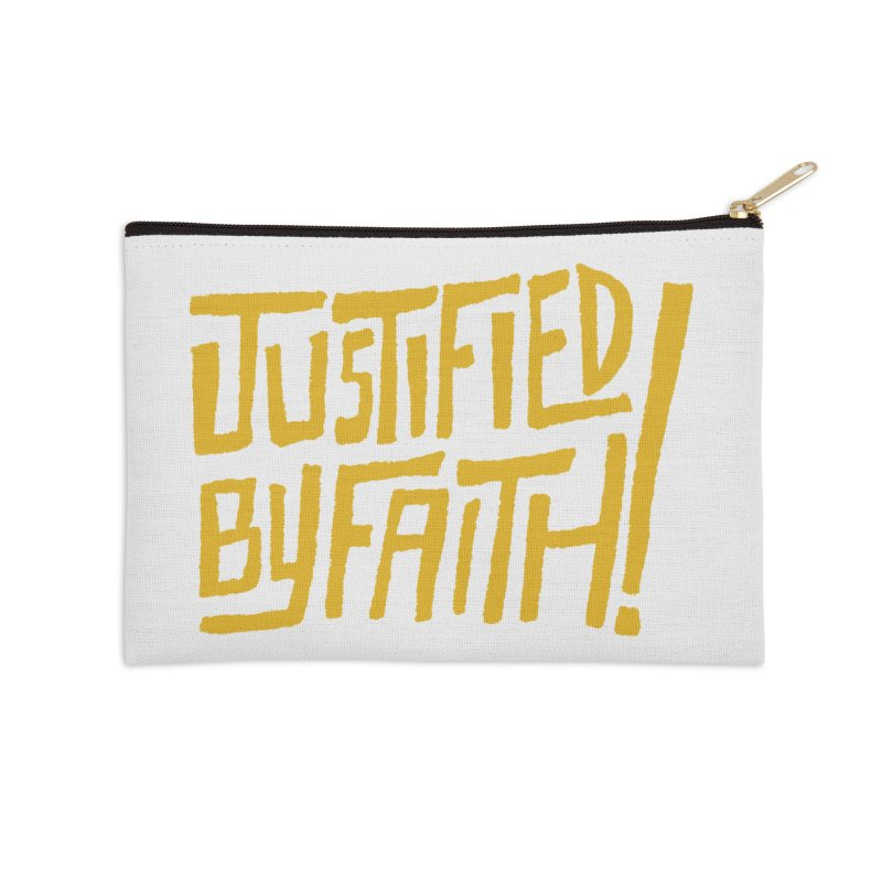 Justified by Faith! (gold) Accessories Zip Pouch by Reformed Christian Goods & Clothing