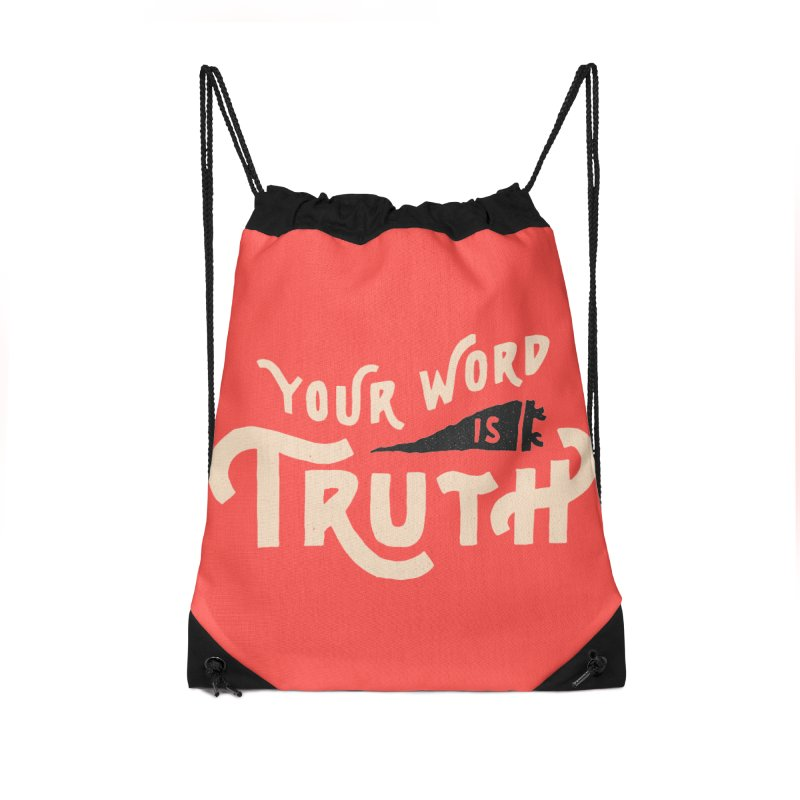 Your Word is Truth (tan) Accessories Drawstring Bag Bag by Reformed Christian Goods & Clothing