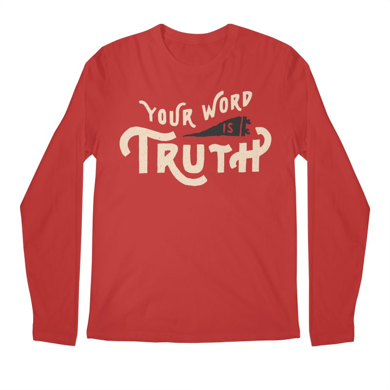 Your Word is Truth (tan) Men's Regular Longsleeve T-Shirt by Reformed Christian Goods & Clothing
