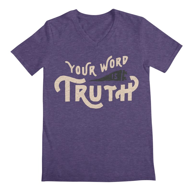 Your Word is Truth (tan) Men's Regular V-Neck by A Worthy Manner Goods & Clothing
