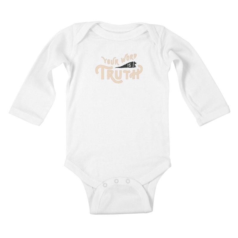 Your Word is Truth (tan) Kids Baby Longsleeve Bodysuit by Reformed Christian Goods & Clothing
