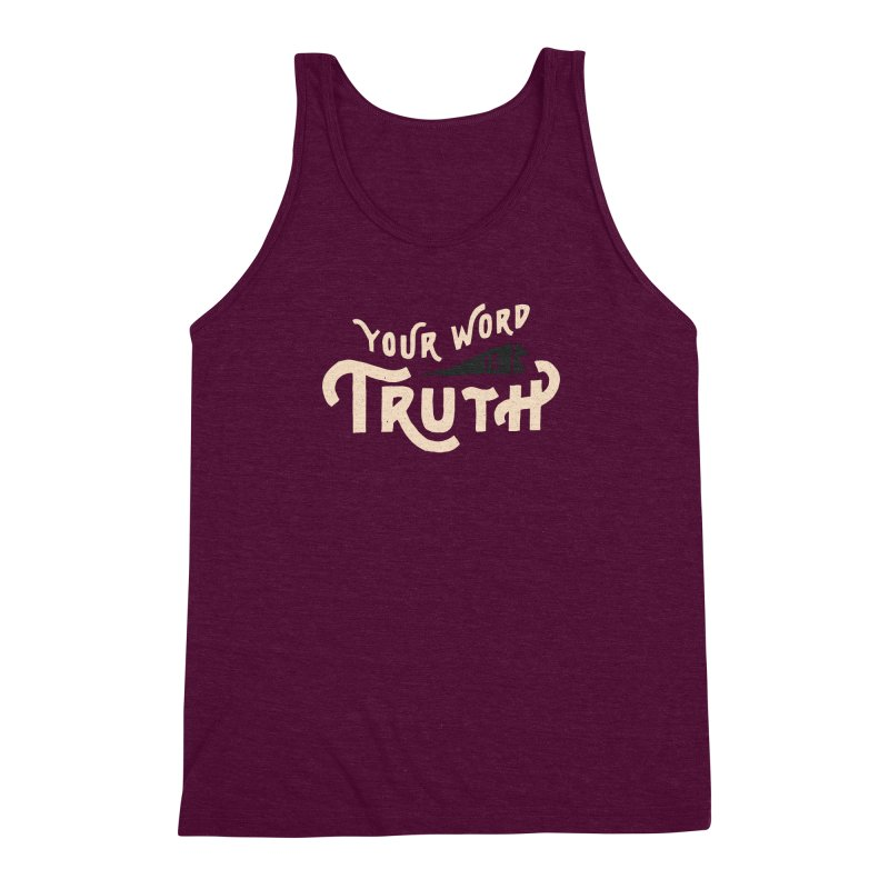 Your Word is Truth (tan) Men's Triblend Tank by Reformed Christian Goods & Clothing
