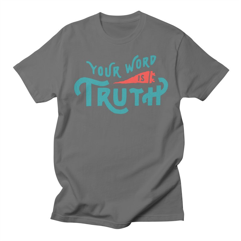 Your Word is Truth (blue) Men's Regular T-Shirt by Reformed Christian Goods & Clothing