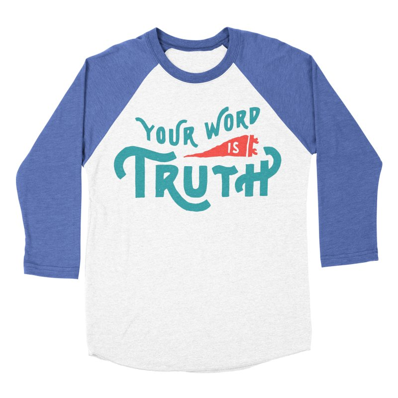 Your Word is Truth (blue) Men's Baseball Triblend Longsleeve T-Shirt by Reformed Christian Goods & Clothing