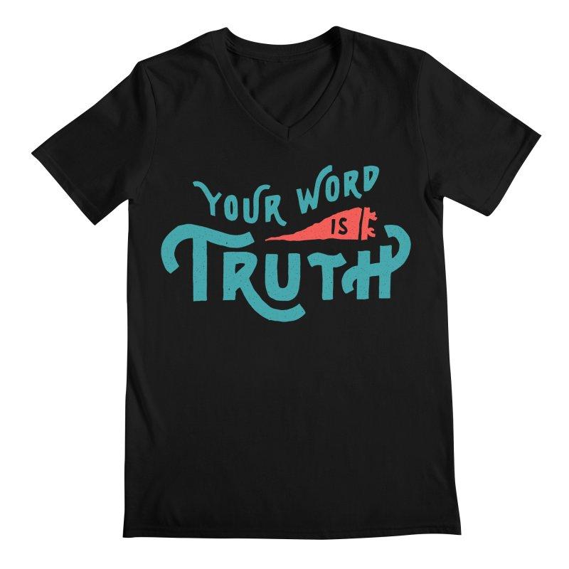 Your Word is Truth (blue) Men's Regular V-Neck by Reformed Christian Goods & Clothing