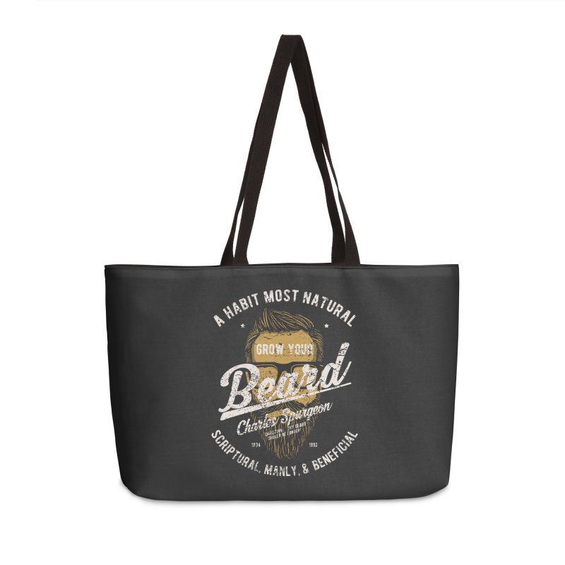 Grow Your Beard! | Charles Spurgeon | Gold & White Accessories Weekender Bag Bag by Reformed Christian Goods & Clothing