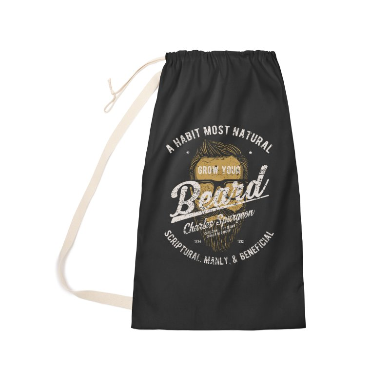 Grow Your Beard! | Charles Spurgeon | Gold & White Accessories Laundry Bag Bag by Reformed Christian Goods & Clothing
