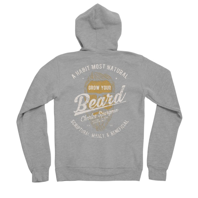 Grow Your Beard! | Charles Spurgeon | Gold & White Men's Sponge Fleece Zip-Up Hoody by A Worthy Manner Goods & Clothing