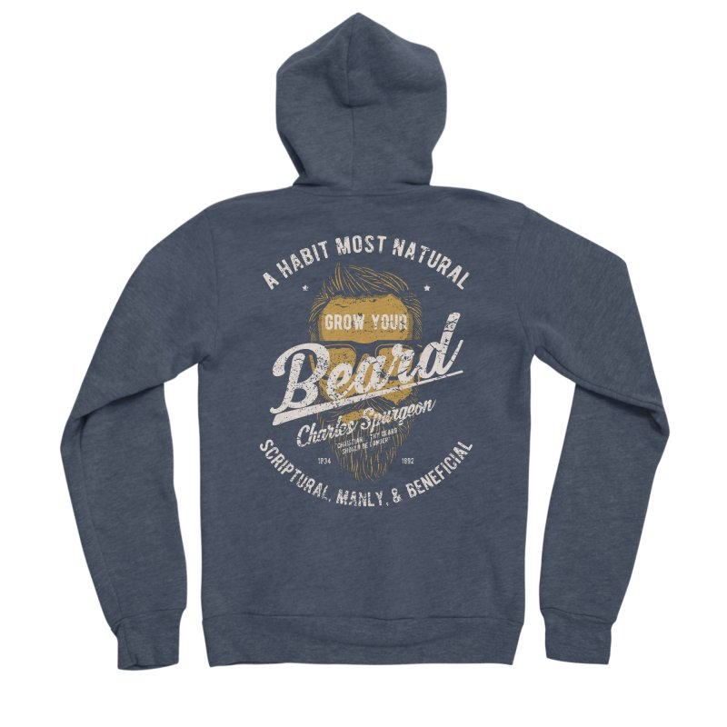 Grow Your Beard!   Charles Spurgeon   Gold & White Men's Sponge Fleece Zip-Up Hoody by A Worthy Manner Goods & Clothing