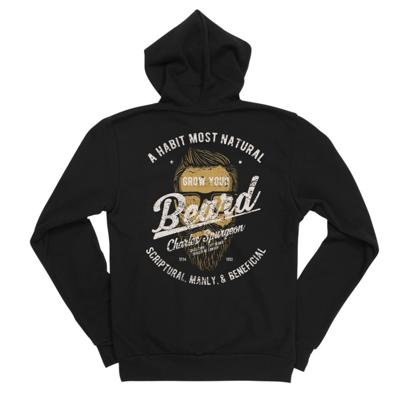 Grow Your Beard! | Charles Spurgeon | Gold & White Women's Sponge Fleece Zip-Up Hoody by A Worthy Manner Goods & Clothing