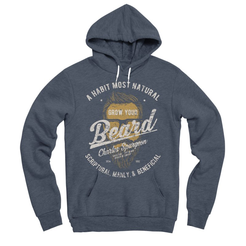 Grow Your Beard! | Charles Spurgeon | Gold & White Men's Sponge Fleece Pullover Hoody by A Worthy Manner Goods & Clothing