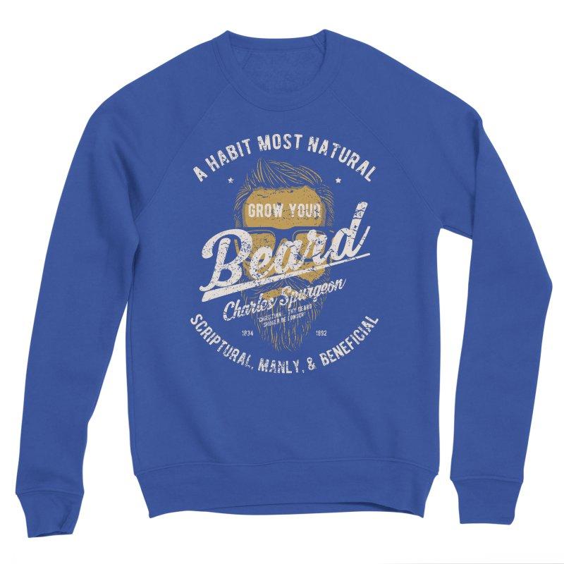 Grow Your Beard! | Charles Spurgeon | Gold & White Men's Sponge Fleece Sweatshirt by Reformed Christian Goods & Clothing