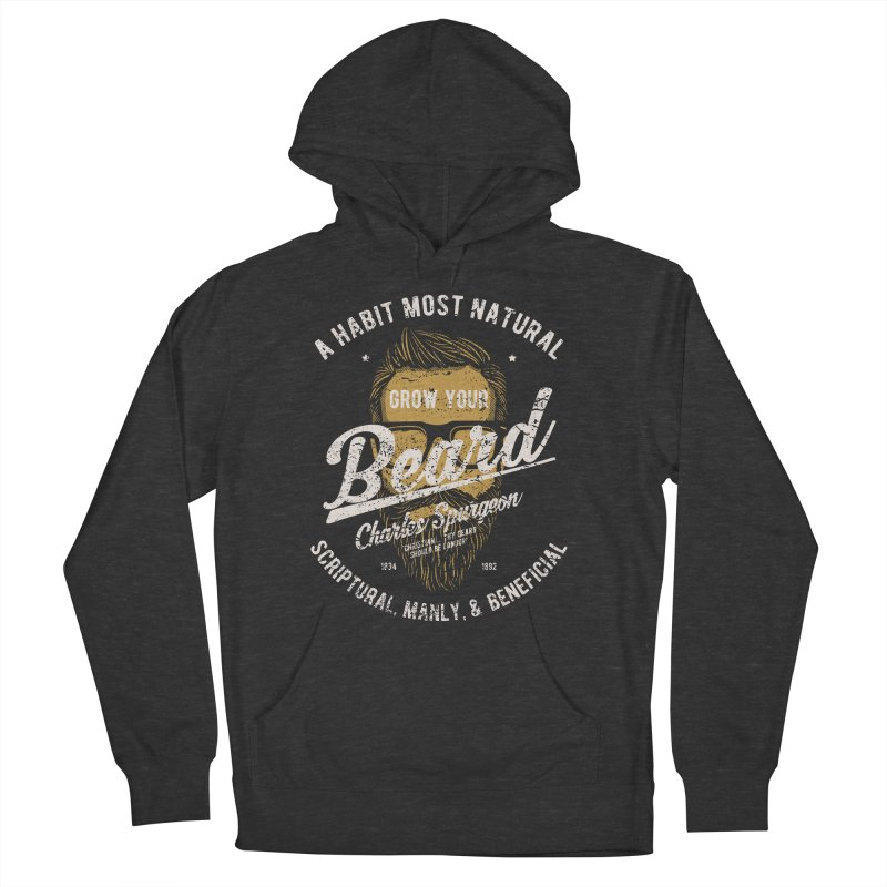 Grow Your Beard! | Charles Spurgeon | Gold & White Men's French Terry Pullover Hoody by Reformed Christian Goods & Clothing