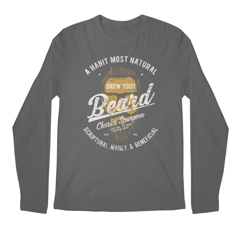 Grow Your Beard! | Charles Spurgeon | Gold & White Men's Regular Longsleeve T-Shirt by Reformed Christian Goods & Clothing