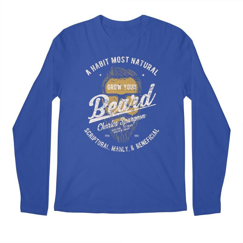 Grow Your Beard! | Charles Spurgeon | Gold & White Men's Regular Longsleeve T-Shirt by Reformed Christian Goods & Clothing