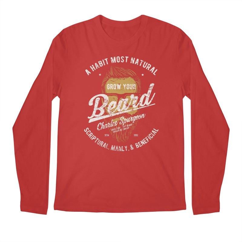 Grow Your Beard!   Charles Spurgeon   Gold & White Men's Regular Longsleeve T-Shirt by Reformed Christian Goods & Clothing