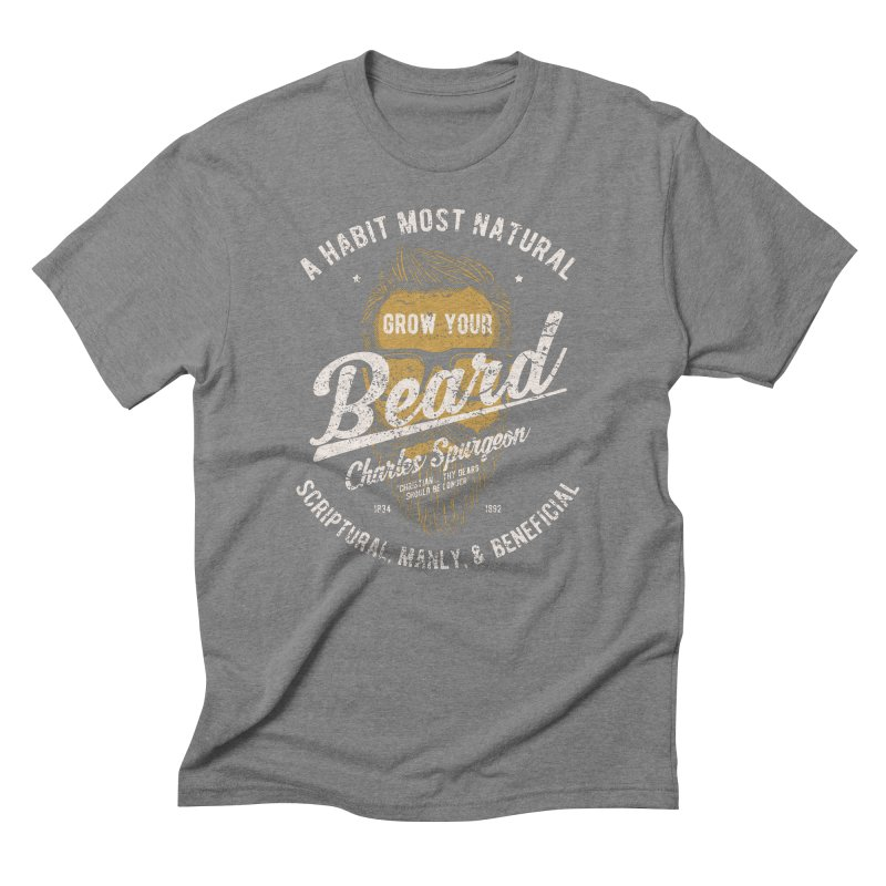 Grow Your Beard! | Charles Spurgeon | Gold & White Men's Triblend T-Shirt by Reformed Christian Goods & Clothing