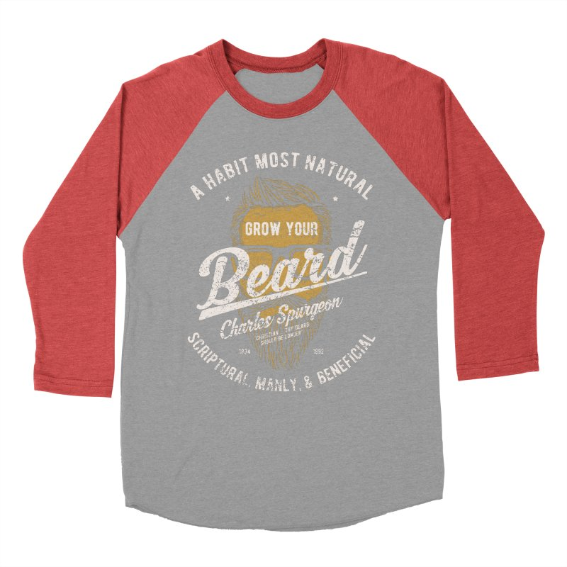 Grow Your Beard! | Charles Spurgeon | Gold & White Women's Baseball Triblend Longsleeve T-Shirt by A Worthy Manner Goods & Clothing
