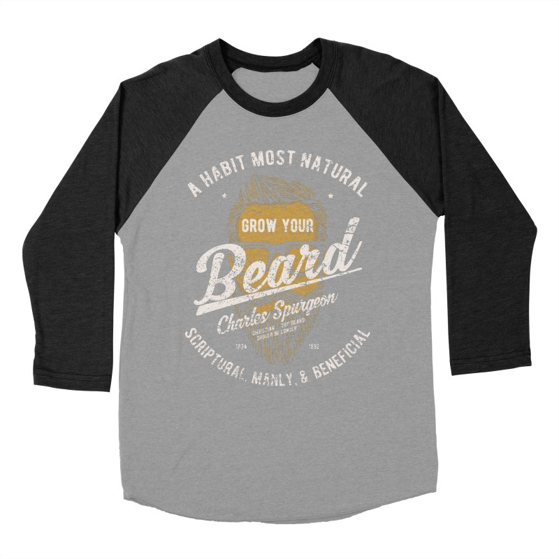 Grow Your Beard! | Charles Spurgeon | Gold & White Women's Baseball Triblend Longsleeve T-Shirt by Reformed Christian Goods & Clothing