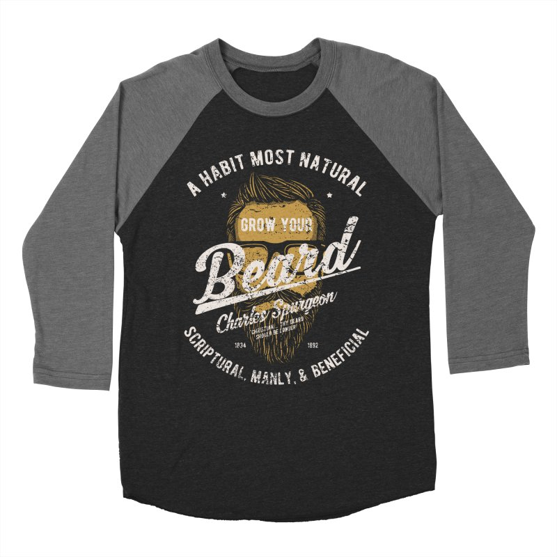 Grow Your Beard! | Charles Spurgeon | Gold & White Men's Baseball Triblend Longsleeve T-Shirt by Reformed Christian Goods & Clothing