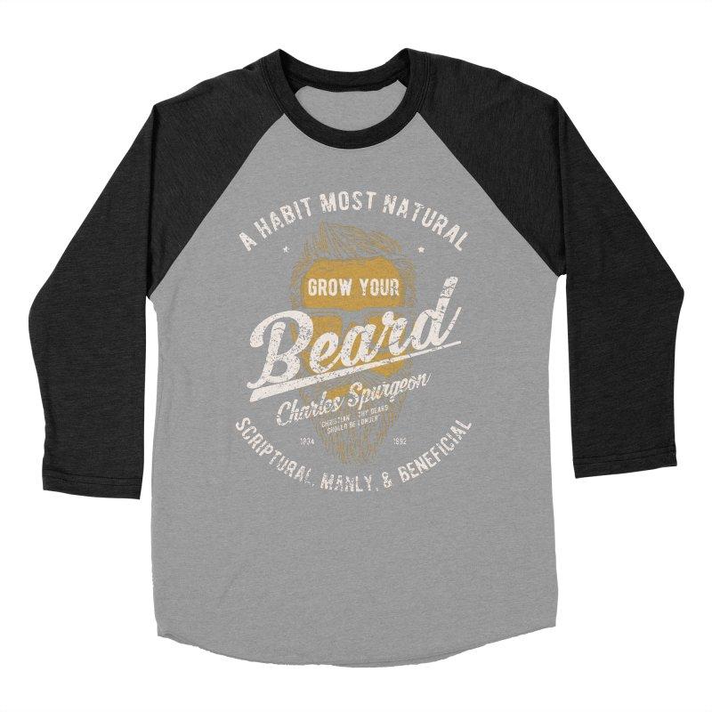 Grow Your Beard! | Charles Spurgeon | Gold & White Men's Baseball Triblend Longsleeve T-Shirt by Reformed Christian Goods & Clothing