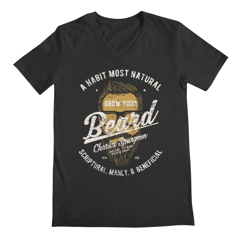 Grow Your Beard! | Charles Spurgeon | Gold & White Men's Regular V-Neck by A Worthy Manner Goods & Clothing