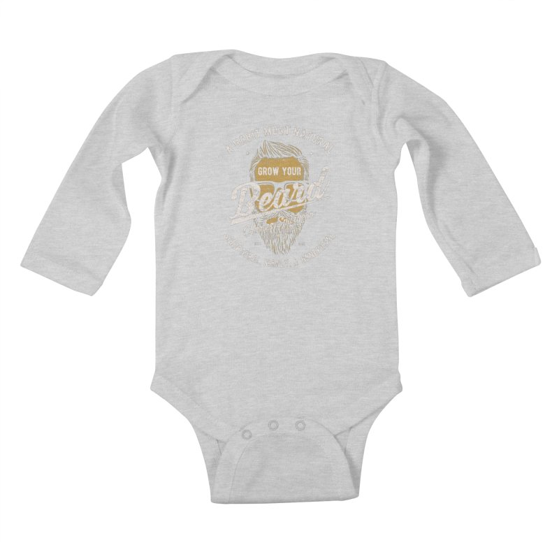 Grow Your Beard! | Charles Spurgeon | Gold & White Kids Baby Longsleeve Bodysuit by Reformed Christian Goods & Clothing