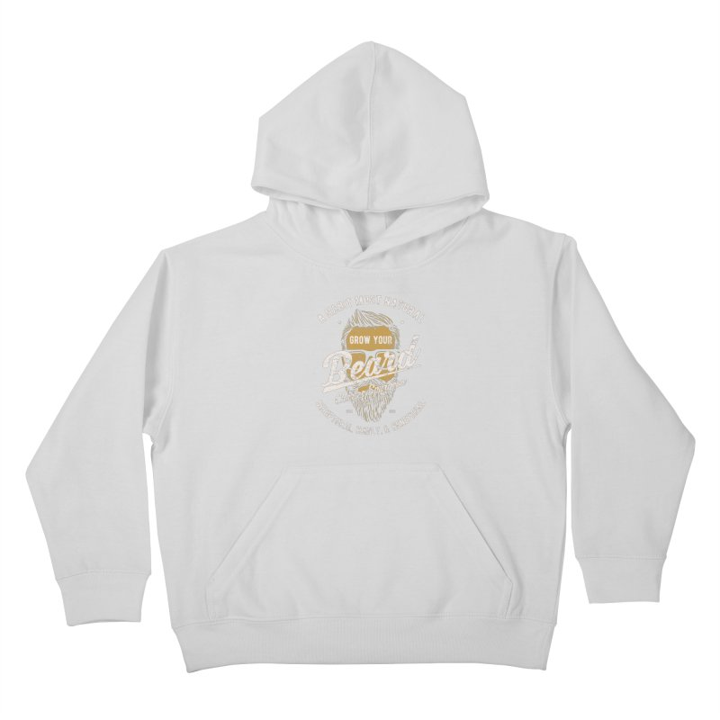 Grow Your Beard! | Charles Spurgeon | Gold & White Kids Pullover Hoody by A Worthy Manner Goods & Clothing