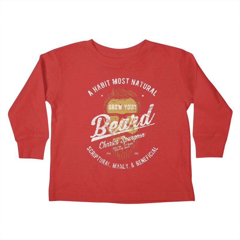 Grow Your Beard! | Charles Spurgeon | Gold & White Kids Toddler Longsleeve T-Shirt by Reformed Christian Goods & Clothing