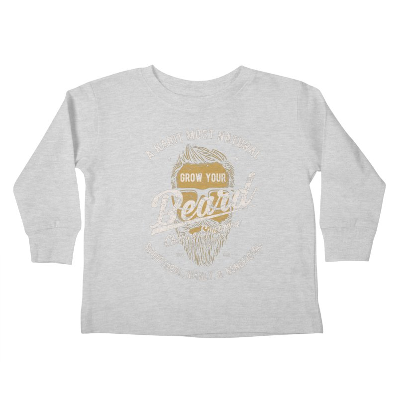 Grow Your Beard! | Charles Spurgeon | Gold & White Kids Toddler Longsleeve T-Shirt by A Worthy Manner Goods & Clothing