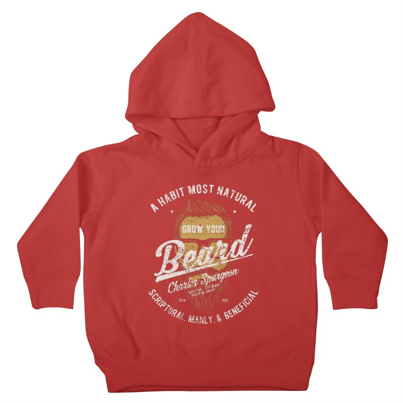 Grow Your Beard!   Charles Spurgeon   Gold & White Kids Toddler Pullover Hoody by A Worthy Manner Goods & Clothing