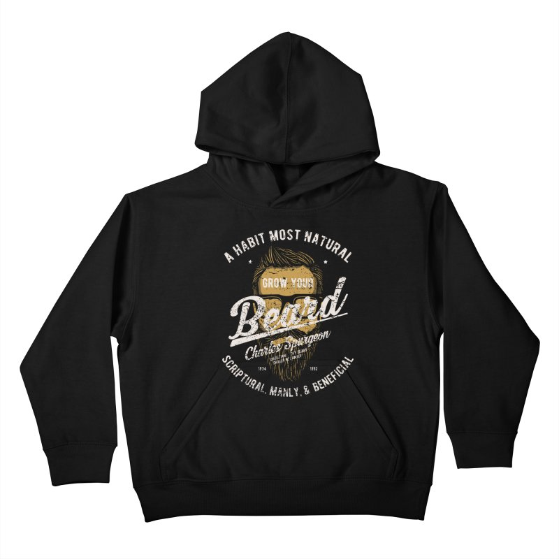 Grow Your Beard! | Charles Spurgeon | Gold & White Kids Pullover Hoody by Reformed Christian Goods & Clothing