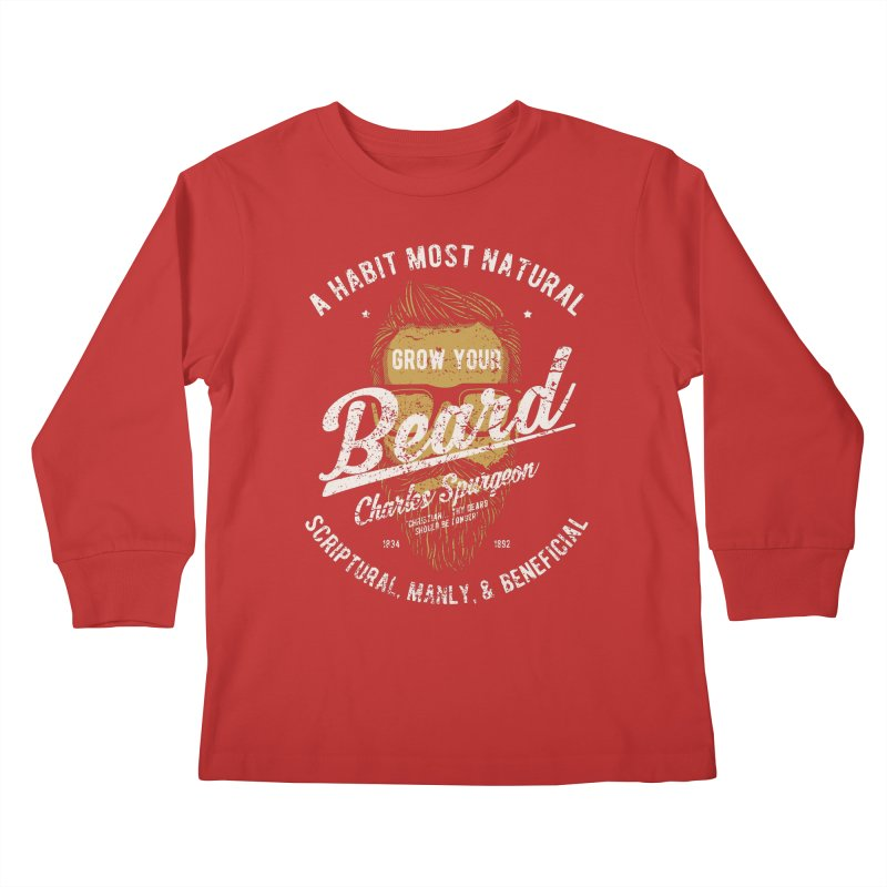 Grow Your Beard! | Charles Spurgeon | Gold & White Kids Longsleeve T-Shirt by A Worthy Manner Goods & Clothing
