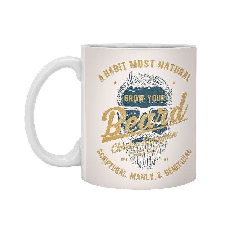Grow Your Beard! | Charles Spurgeon | Blue & Gold Accessories Standard Mug by Reformed Christian Goods & Clothing