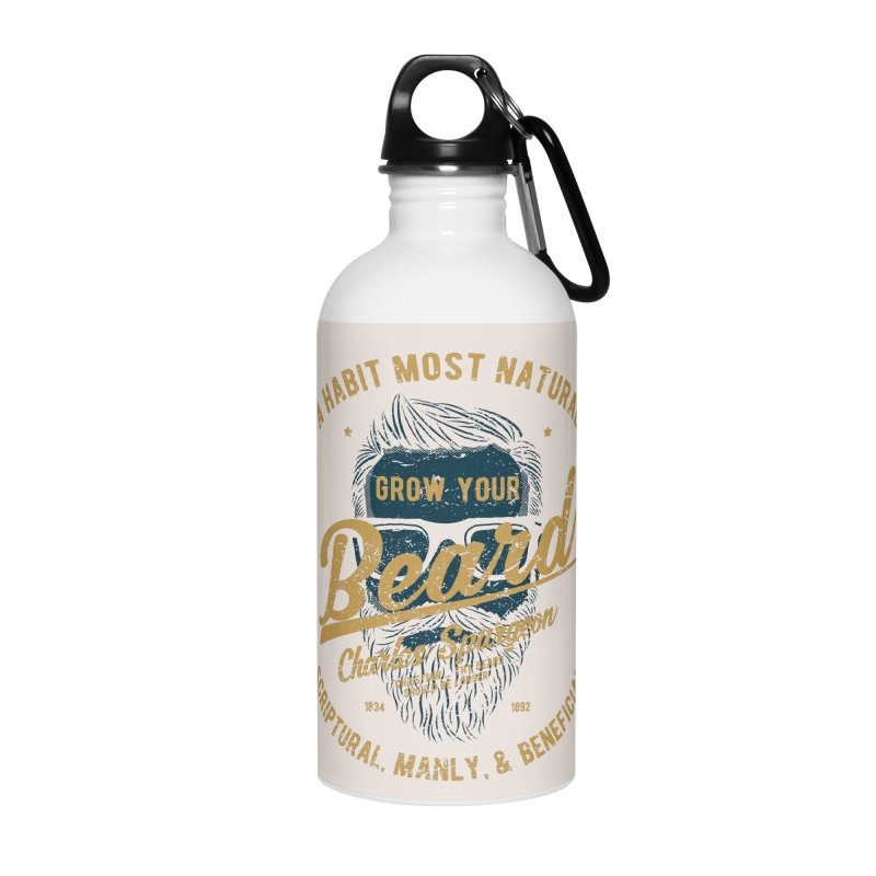 Grow Your Beard! | Charles Spurgeon | Blue & Gold Accessories Water Bottle by Reformed Christian Goods & Clothing