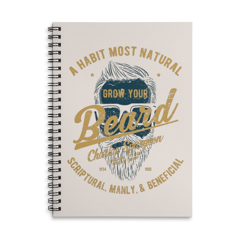 Grow Your Beard! | Charles Spurgeon | Blue & Gold Accessories Lined Spiral Notebook by Reformed Christian Goods & Clothing